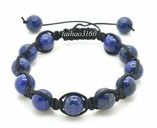 Natural 10mm Blue LAPIS Stone Gemstone Round Bead Adjustable Shamballa Bracelet