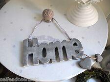 HOME grigio Cuore Scritta Scrita shabby chic legno Targa In Legno Detto