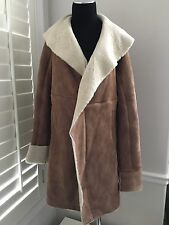 UGG Women's Andeliane Shearling Wrap Trench Coat W/ Shawl Collar UA2147W M NEW