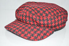 BOSSANI women's hat newsboy cabbie RED and BLACK pattern one size CUTE