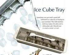 RSVP Endurance 18/8 Stainless Steel Ice Cube Tray - Retro Style Makes 18 Cubes