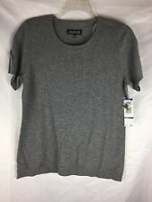 Jones New York, Grey, short sleeve, 100% cashmere, sweater size XL