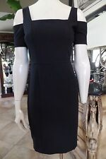 BCBG Maxazria Ann Black Pencil Cocktail Cut Out Sleeves Sheath Dress 4