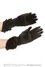 NEW Coquette Black Satin Gloves with Angled Hem & Ruffles OS