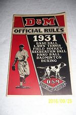 1931 D&M Sporting Goods RULES BOOKLET Baseball TENNIS Handball BOXING Hockey