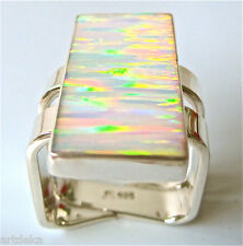 Fire Opal Ring Australian Sunset Art Deco Contemporary Ring 925 Silver Size 8