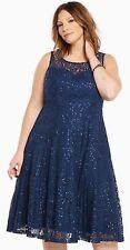 NEW TORRID Plus Size 18 Lace Sequins Midi Skater Dress Navy Blue