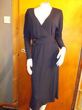 M&S 'Best of British' L/Sleeved Belted Wrap Dress 8 Indigo BNWT