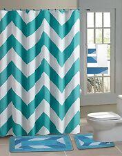 Chevron Turquoise Blue 15-Piece Bathroom Accessory Set Bath Mats Shower Curtain