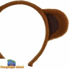 BROWN ANIMAL EARS DOG BEAR MONKEY BOOK WEEK Girls Boys Childs Fancy Dress