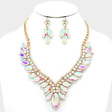 GLAM UTOPIAN Statement Gold AB Crystal Cocktail Necklace Set By Rocks Boutique