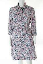Cacharel Multi-Colored Cotton Floral Print Half Button Down A-Line Dress Size 8