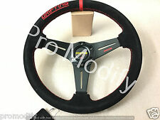 Flat 350mm Suede Leather Low Dish Black Spoke DRIFTING STYLE Steering Wheel