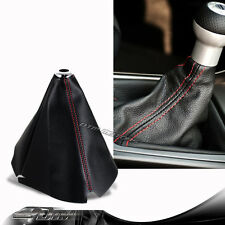 JDM Red Stitch Black PVC Leather Shifter Shift Gear Knob Boot Cover Universal