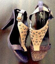 Donald J Pliner 8 Nekita Camel Brown Bronze Suede/Metallic Heels Shoes Sandals