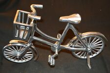 Silver Tone Minature Metal Bicycle Display with Basket Home Decor Figurine -bike