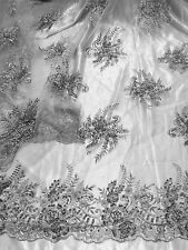 """GREY MESH W/EMBROIDERY PEARL BEADS & SEQUINS BRIDAL LACE FABRIC 52"""" WIDE 1 YARD"""