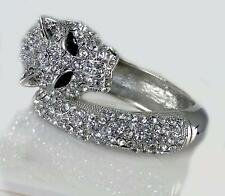 Crystal Panther Silver Clear Pave Hinged Bangle Bracelet Designer Women Jewelry