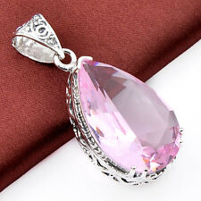 Holiday Gift Romantic Lovely Rose Topaz Gemstone Antique Silver Necklace Pendant