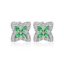 LOVELY 18K WHITE GOLD PLATED GENUINE EMERALD GREEN CUBIC ZIRCONIA STAR EARRINGS