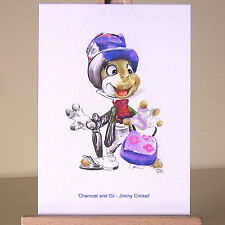 Jiminy Cricket ACEO art card WDCC Pinocchio cute mixed media drawing