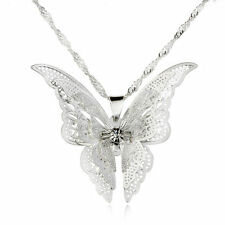 New Women Fashion Jewelry Silver Plated Openwork Butterfly Necklace Pendant Gift