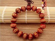 17 12*11mm Red Sandalwood Great Compassion Mantra Prayer Beads Mala Bracelet
