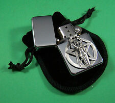 PENTAGRAM and GIRL Petrol Lighter in Pouch Free UK Post Pagan Witch Devil