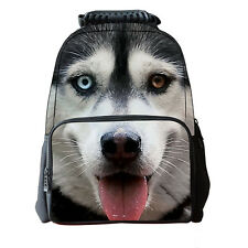 3D Husky Dog School Bag Travel Hiking Outdoor Backpack Men Women Shoulder L