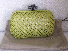 Bottega Veneta AUTH Knot Intrecciato Placcato Clutch Chartreuse Metallic Leather