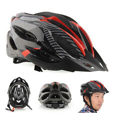 Cycling Adult Men's Bike Bicycle Carbon Safety Helmet w/ Visor 21 Holes Red