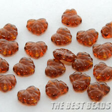 30pcs Brown Maple Leaf Czech Glass Pressed Beads 13x11mm