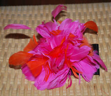 Feather Hair Accessory Pouf Gator Clip Pin Brooch Headpiece Hot Pink Orange NEW