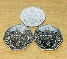 3 X Beatrix Potter 150th Anniversary 50p Fifty Pence coins 2016 - Free Postage