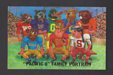 vTg 1969 Pacific 8 Family Portrait cartoon postcard USC UCLA CA OR WA football