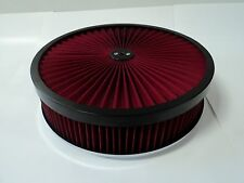 """14"""" X 3"""" ROUND RED HIGH FLOW THRU WASHABLE AIR CLEANER FLAT BASE LID EXTREME 350"""