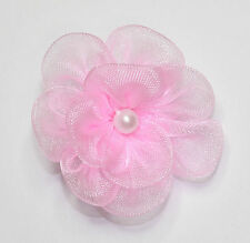 10 X Double Organza Flowers Sew On Appliques   Colour: Pink