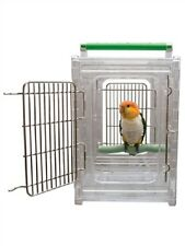 Parrot Pet Bird Travel Cage Carrier Stainless Steel with See Through Panels