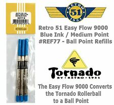 Retro 51 #REF77 Easy Flow 9000 / 3 Pack Blue Ink Tornado Ball Point Refills