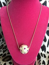 Betsey Johnson HUGE Pearl Ball Dome Fuchsia Pink Crystal Studded Long Necklace