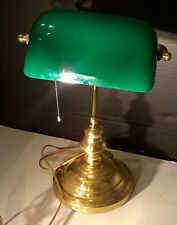 VINTAGE / ANTIQUE BANKERS DESK Green Glass Shade BRASS DESK LAMP WORKS