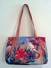 NEW Anuschka Hand-Painted Leather Large Shopper Handbag,Butterfly Glass Painting