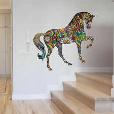 ABSTRACT COLOUR FLORAL HORSE ANIMAL WALL STICKER VINYL TRANSFER MURAL