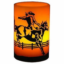 River's Edge LED Painted Western Cowboy Flameless Candle 4x6 Inch Orange