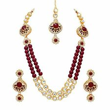 Indian Bollywood fashion Bridal Gold Tone pearl Necklace Earrings  jewelry Set