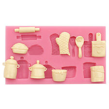 Useful silicone fondant Mold Rolling Pin Pot Glove Silicone Cake Baking Mould