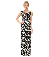 NEW FRENCH CONNECTION BLACK & WHITE DOWNTOWN GRID MAXI DRESS ~ SZ 12 71DCZ