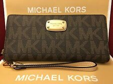 NWT MICHAEL KORS JET SET PVC TRAVEL CONTINENTAL WALLET/WRISTLET IN BROWN