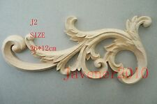 26*12cm Wood Carved Corner Onlay Applique Frame Cabinet Unpainted J2 QTY.1