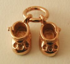 GENUINE SOLID 9K 9ct ROSE GOLD 3D BABY BOOTIES CHARM/PENDANT